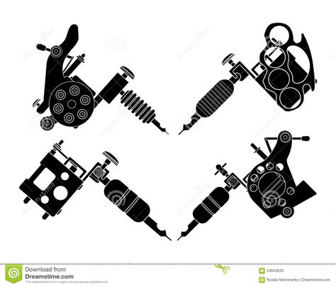 set of 4 different style tattoo machines stock vector