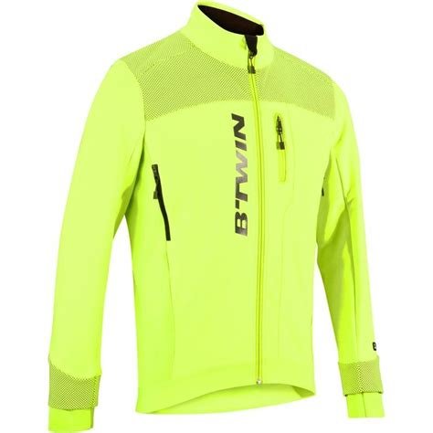 hi vis cycling jacket 900 hi vis warm cycling jacket yellow decathlon