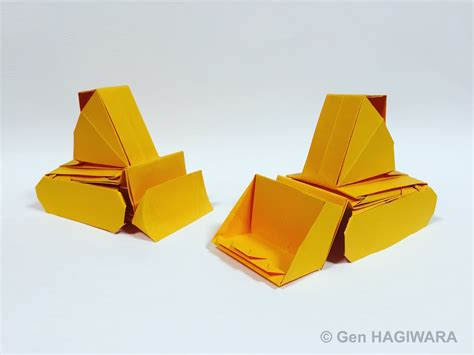 Origami Tractor - origami bulldozer and drott by h on deviantart