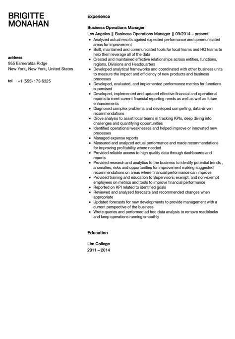 business operations manager resume sle velvet
