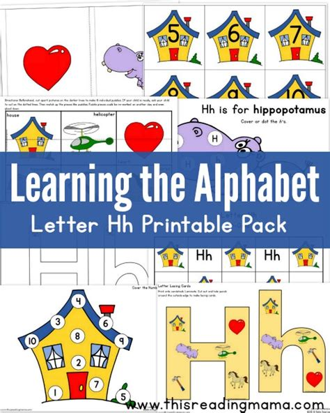 printable alphabet readers learning the alphabet free letter h printable pack