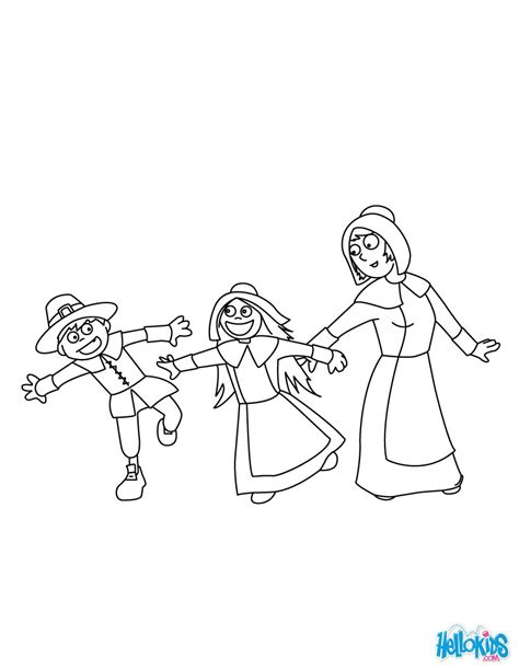 pilgrim family coloring page pilgrim boys and girls coloring pages hellokids com
