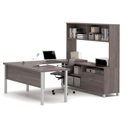 grey desk with hutch bestar pro linea u desk with hutch in bark gray 120860 47