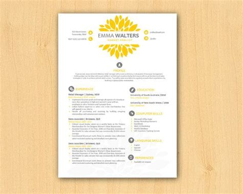 diy resume template yellow chrysanthemum modern diy microsoft word resume