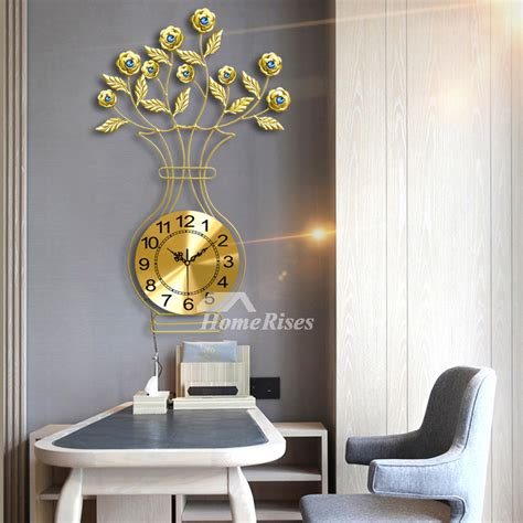 large wall clocks floral gold illuminated decorative metal