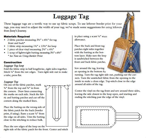 Luggage Label Template Word
