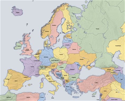 Maps map of europe countries