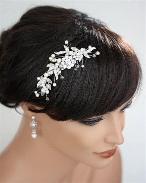 pearl hair style pics bridal hair comb wedding hairpiece leaf comb white ivory