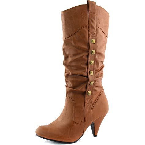 knee high cowboy boots mid knee high cowboy boots studded side slouchy high heel