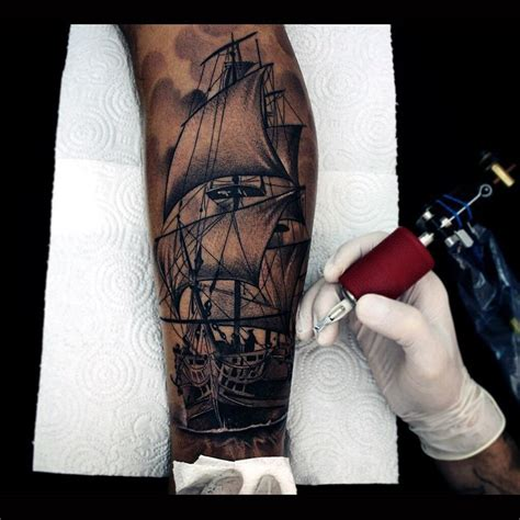 realistic graphic ship sails tattoo best tattoo ideas