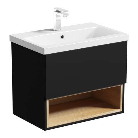 tate anthracite oak 600 wall hung vanity unit with basin