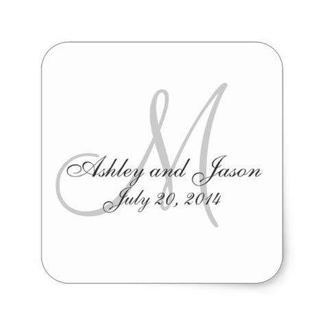 monogram names wedding favour sticker template zazzle