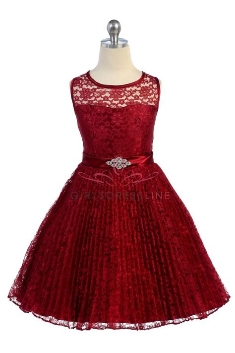 Dress Princess Kid Maroon Mint burgundy lace pleated flower dresses on discover the best trending lace flower