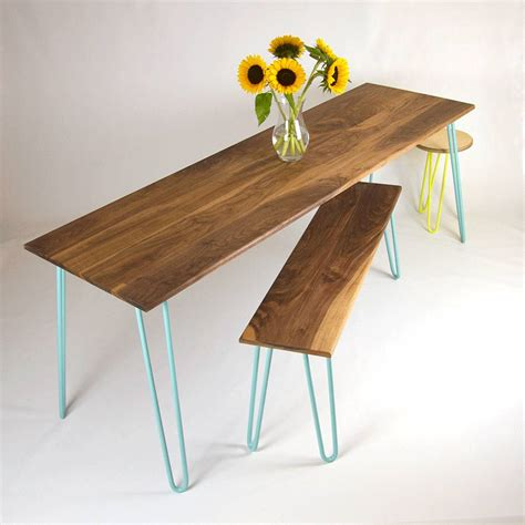 hairpin leg bench kit bench with industrial hairpin legs in walnut by cord
