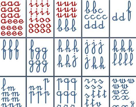 lettere minuscole in corsivo costruire gli alfabeti tattili montessori per lo stato