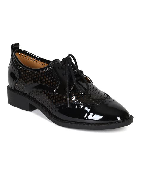 flat oxford shoes new liliana tita 1 patent perforated lace up oxford