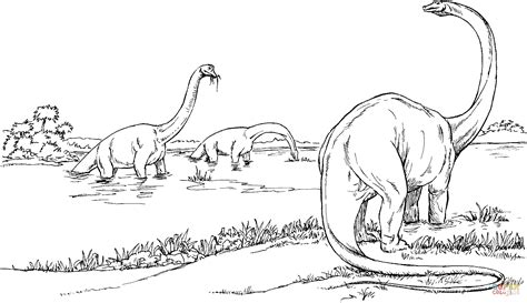 brachiosauruses in the lake coloring page free printable