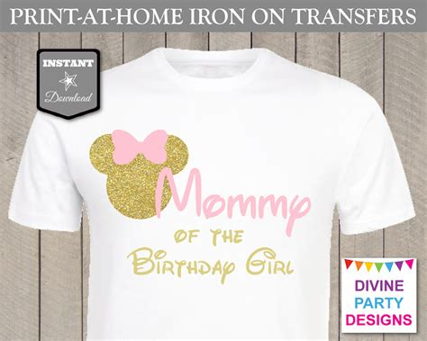 printable iron on transfers birthday pink and gold glitter minnie mouse birthday ideas make