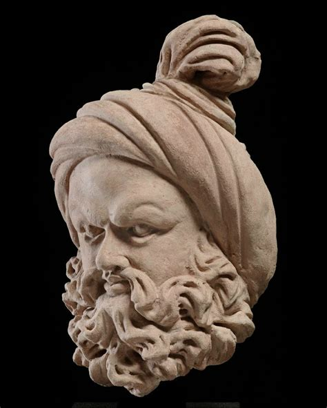 bearded heat l bearded with a knotted turban gandhara region 4th