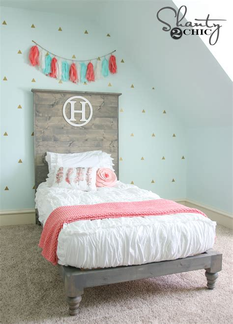how to make a twin headboard diy twin platform bed and headboard shanty 2 chic