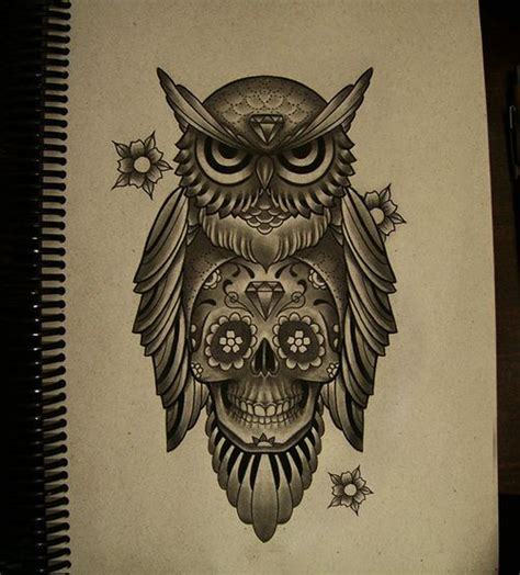 neo traditional owl tattoo owl skull neo traditional likes