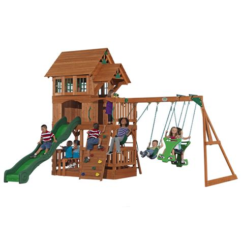 lowes backyard shop adventure playsets the liberty cedar playset at lowes com