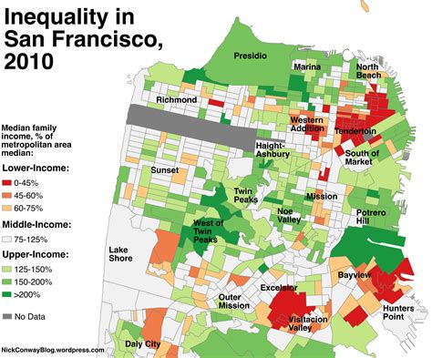 neighborhoods in san francisco map a map of which sf neighborhoods became richer since 1990