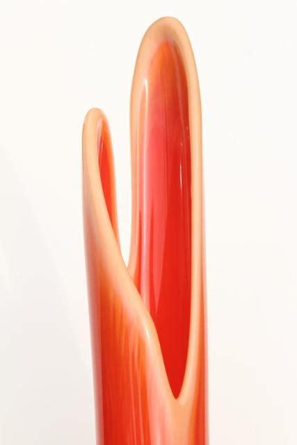 bittersweet orange art glass vases, tall mod 60s vintage