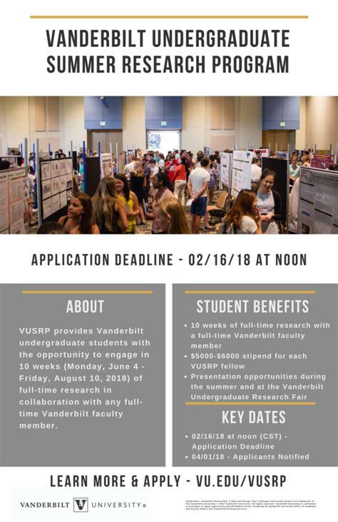 Vanderbilt Mba Program Underbrad vanderbilt undergraduate summer research program vusrp