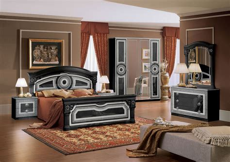 aida versace design italian 6 item bedroom set in ivory ebay aida italian bed black with silver classic bedroom