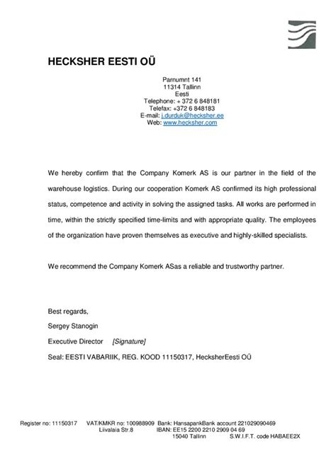 Confirmation Letter Hereby company 171 komerk as 187 logistic services in estonia
