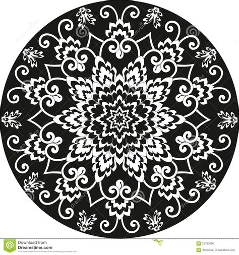 black and white round pattern ornamental round floral pattern black and white royalty