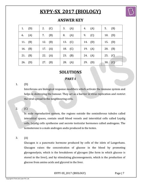 KVPY-SX 2017 Biology Question Paper with Solutions