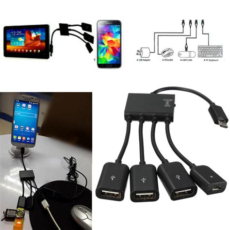 Ht081 Kabel Cable Otg For Samsung Galaxy Note 3 Usb On The Go micro usb 4 ports power otg hub cable kabel adapter f 252 r