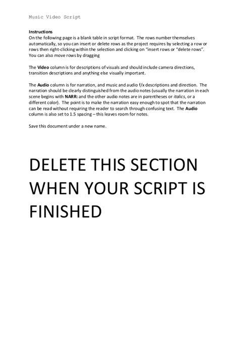 music video script template update nov 2013
