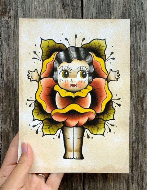 kewpie tattoo history my dear kewpie doll a5 digital print watercolour