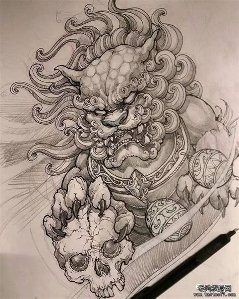 男人胸前超酷的骷髅麒麟纹身图案