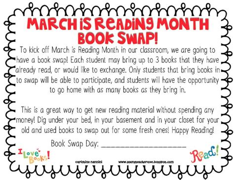 themes for march is reading month book swap idea teacher stuff pinterest