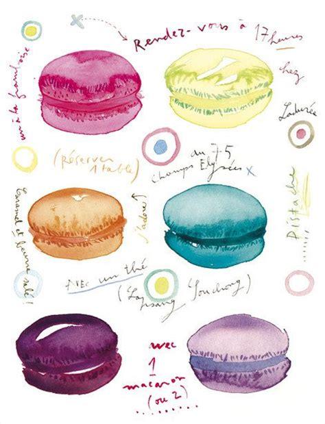 printable macaron recipes macarons at tea time watercolor illustration print