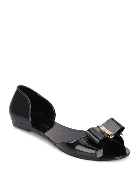 saks fifth avenue peep toe jelly sandals in black lyst