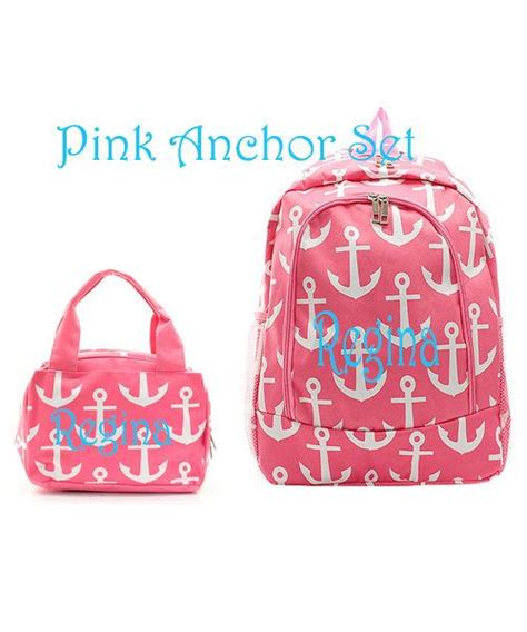 monogram personalized pink anchor backpack  lunch box