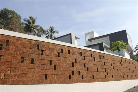 house with privacy brick walls