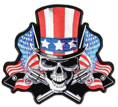 tall hat us flag skull and guns patch skull patches