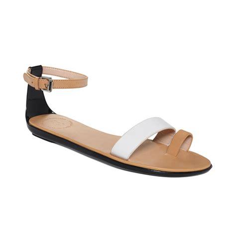 toe ring sandals connection toe ring sandals in beige black