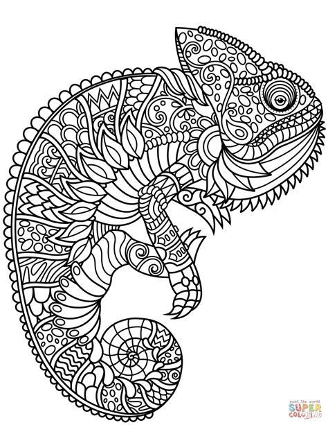 chameleon coloring page chameleon zentangle coloring page free printable