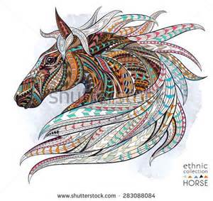 Head of the horse on the grunge background african indian totem