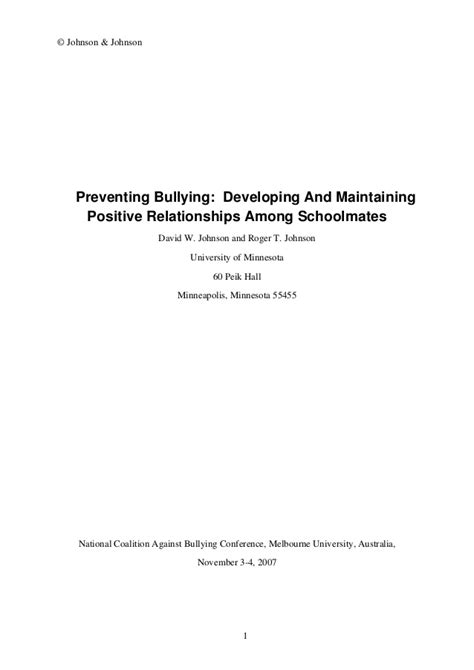 thesis about bullying slideshare johnson d preventing bullying