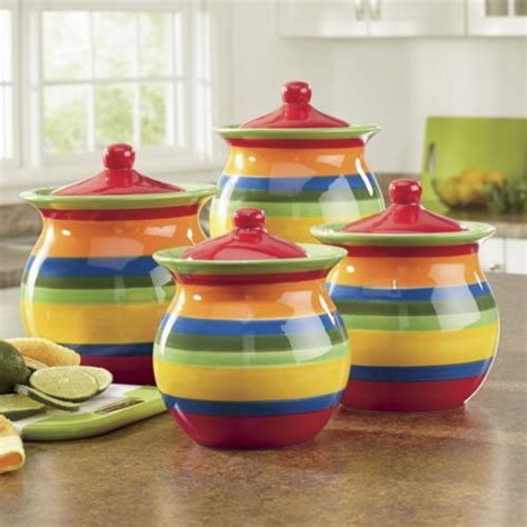 colorful kitchen canisters 4 piece multistripe canister set from through the country