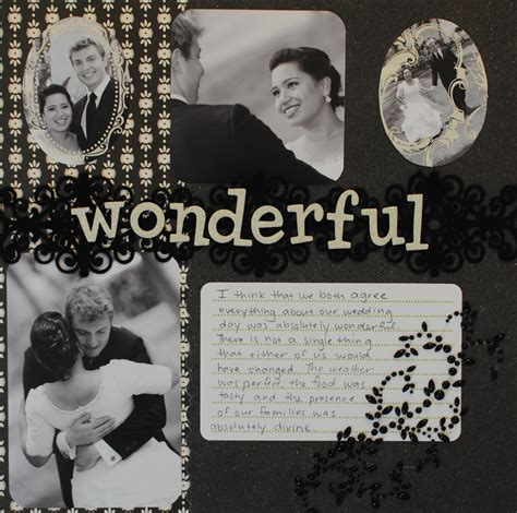 scrapbook layout black and white black and white quot wonderful quot wedding scrapbook layout