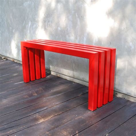 linear bench custom made industry red linear bench by sarabi studio